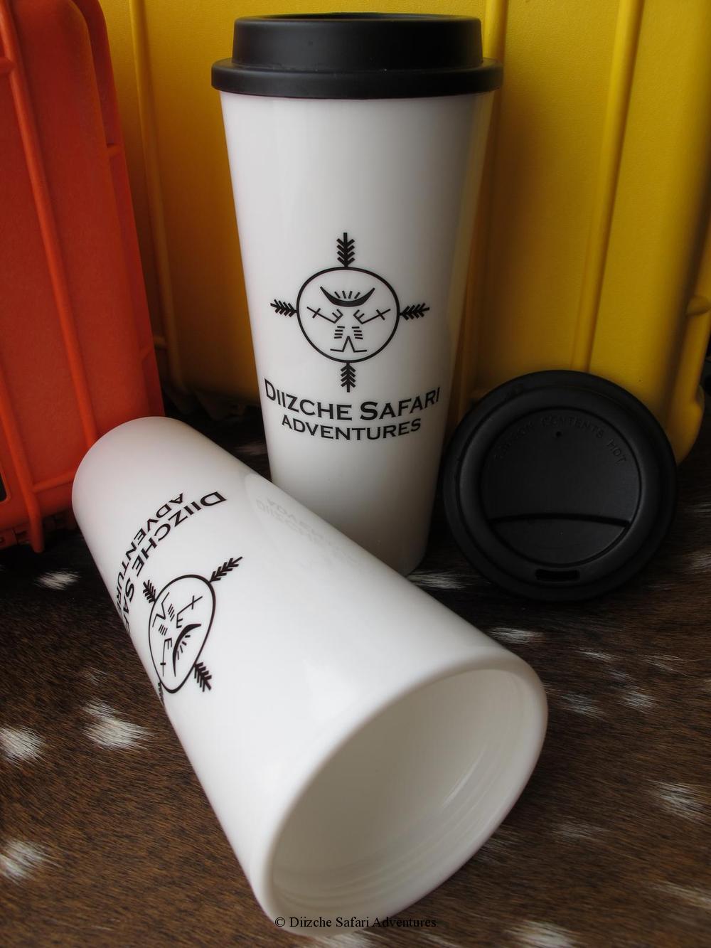 Heavy Duty 20 Oz. White Plastic Cup2goTwo Black Diizche Safari Adventures Logos 20 Oz. Heavy Duty Cup2go Dual Logo Design Diizche Safari Adventures, watch cover, cap, medicine bag Diizche Safari Adventures, ultimate bore protection