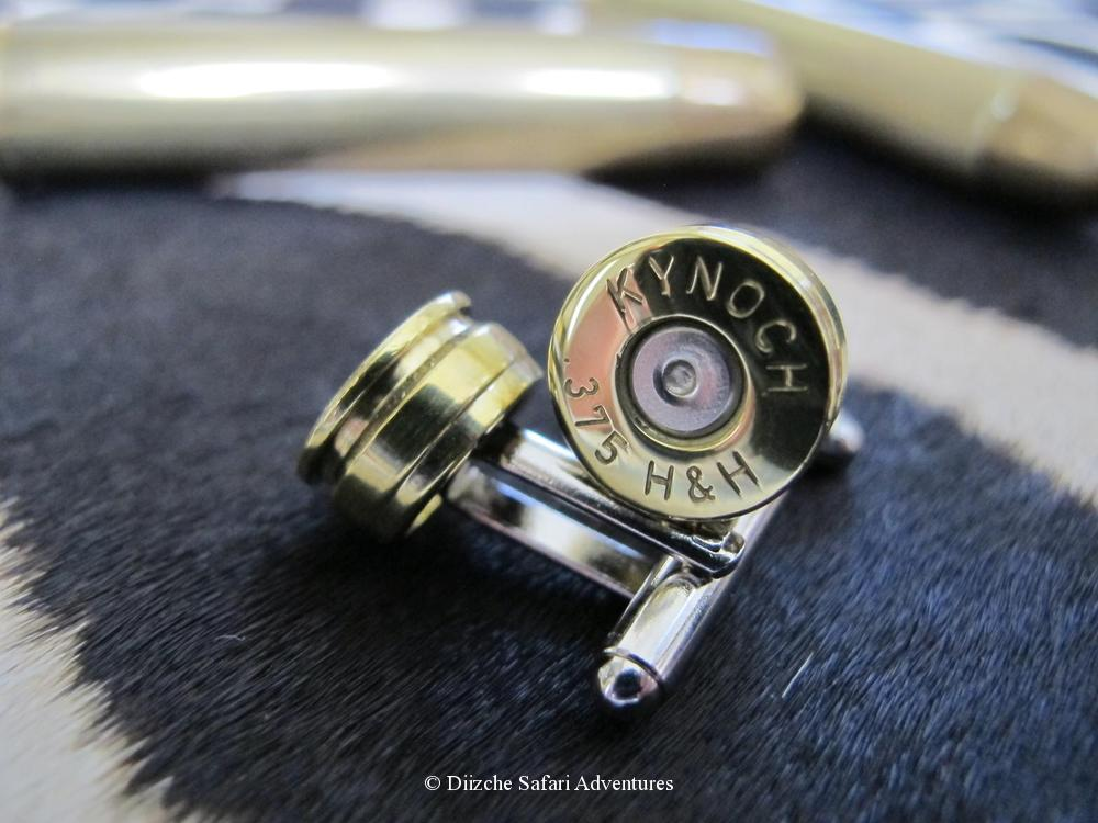 .375 H&H Cufflinks. These are made for us by Kynoch in England through a cufflink manufacturer using Kynoch ammunition brass. Actual cufflinks may vary slightly from image sample. .375 H&H Kynoch Cufflinks kynoch cufflinks and native american jewelry kynoch ammunition cufflinks southwestern jewelry