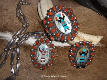 Modern 1975 Set.Coral Pendant, Bracelet & Ring. Artist: Unknown Apache Gahn Pendant, Bracelet & Ring Set kynoch cufflinks and native american jewelry kynoch ammunition cufflinks southwestern jewelry