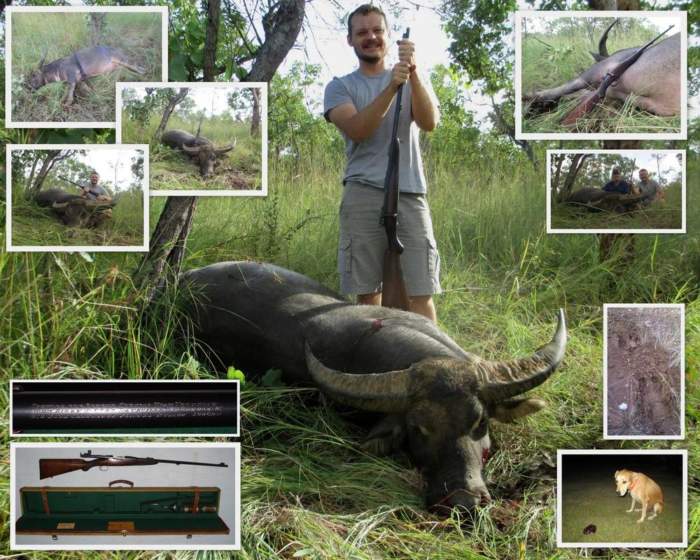 <font color=orange>Ben with .275 Rigby</font> Ben with .275 Rigby  Trophy hunting photos Australian dangerous game  hunting pictures dangerous game