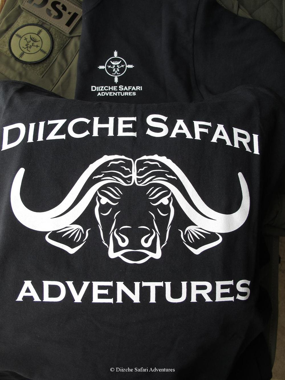 Men`s Black T-Shirt-Short Sleeve-White Silk Screen Front LogoLarge Buffalo on Back T-Shirt - Short Sleeve safari clothing tag safari